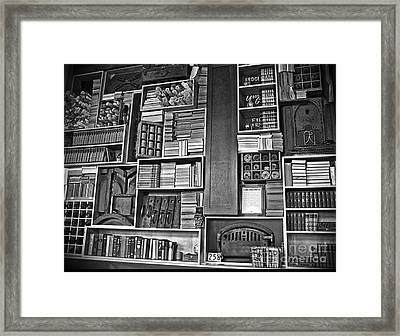 Vintage Bookcase Art Prints Framed Print by Valerie Garner
