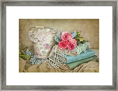 Vintage Books And Roses Framed Print by Cheryl Davis