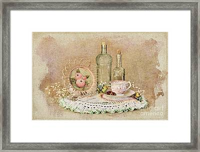 Vintage Bottles And Teacup Still-life Framed Print by Cheryl Davis