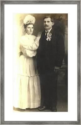 Vintage Bride And Groom Framed Print by Alan Espasandin