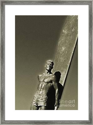 Vintage Bronze Surfer Framed Print by Paul Topp