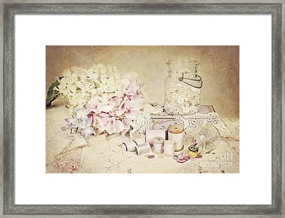 Framed Print featuring the photograph Vintage Buttons And Thread by Cheryl Davis