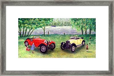 Vintage Car Picnic Framed Print by Ronald Haber