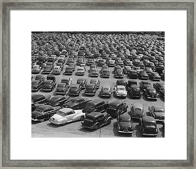 Vintage Cars In Lot Framed Print by George Marks