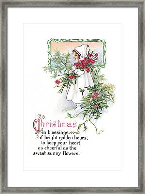 Vintage Christmas Blessings Framed Print by Unknown