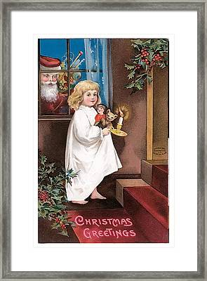 Vintage Christmas Greetings Framed Print by Unknown