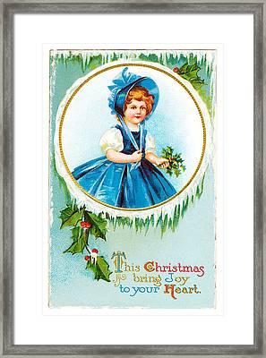 Vintage Christmas Joy Framed Print by Unknown