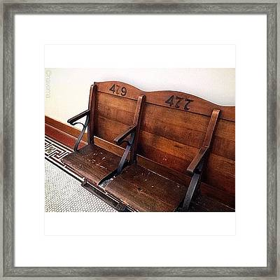 Vintage Courthouse Seats Framed Print
