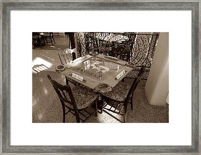 Vintage Domino Table Framed Print by David Lee Thompson