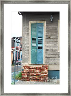 Vintage Dual Color Wooden Door And Brick Stoop French Quarter New Orleans Accented Edges Digital Art Framed Print by Shawn O'Brien