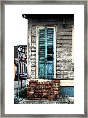 Vintage Dual Color Wooden Door And Brick Stoop French Quarter New Orleans Fresco Digital Art Framed Print