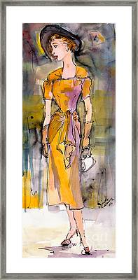 Vintage Fashion Girl In A Black Hat  Framed Print by Ginette Callaway