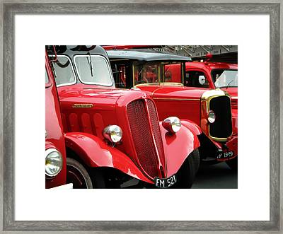 Vintage Fire Trucks Framed Print