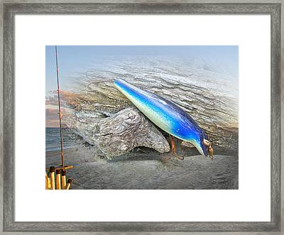 Vintage Fishing Lure - Floyd Roman Nike Blue And White Framed Print by Mother Nature