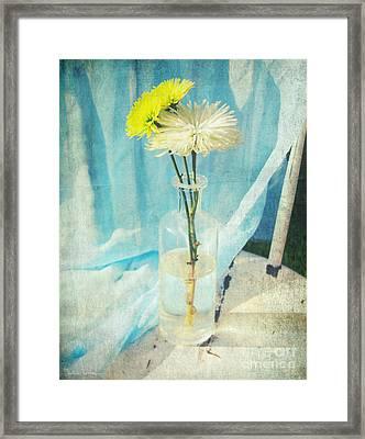 Vintage Flowers In A Bottle Vase Sunny Still Life Print Framed Print