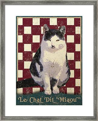 Vintage French Bistro Cat Framed Print by Flo Karp