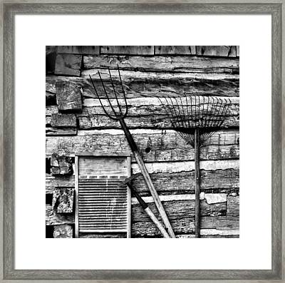 Vintage Garden Tools Bw Framed Print by Linda Phelps