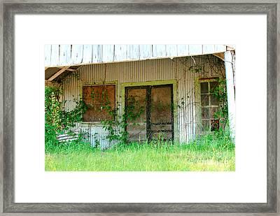 Vintage Gas Station In Springtime  Framed Print by Connie Fox