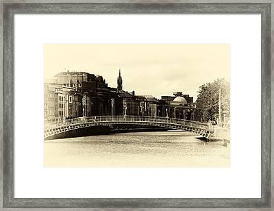 Vintage Ha'penny Bridge Framed Print by John Rizzuto