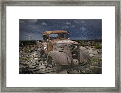 Vintage Junk Auto In The Rain Framed Print by Randall Nyhof