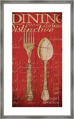 Vintage Kitchen  Utensils In Red Framed Print by Grace Pullen