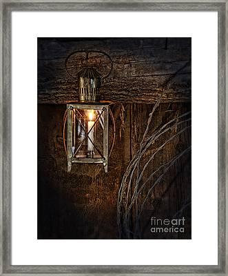 Vintage Lantern Hung In A Barn Framed Print by Jill Battaglia