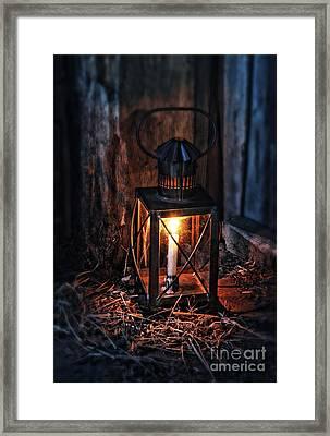 Vintage Lantern In A Barn Framed Print by Jill Battaglia