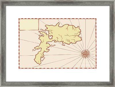 Vintage Map Of Island Framed Print by Aloysius Patrimonio