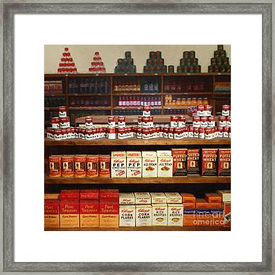 Vintage Mom And Pop Grocery Store - 7d17402 Framed Print by Wingsdomain Art and Photography