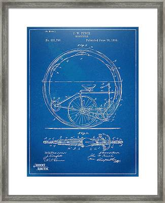 Vintage Monocycle Patent Artwork 1894 Framed Print by Nikki Marie Smith