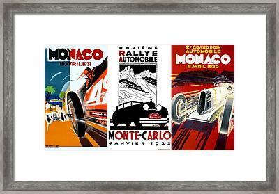 Vintage Monte Carlo Racing Posters Framed Print