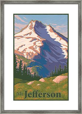 Vintage Mount Jefferson Travel Poster Framed Print by Mitch Frey