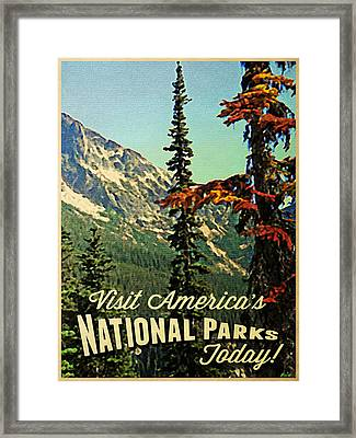 Vintage National Parks Framed Print