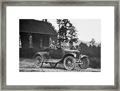 Vintage Photo Of Men In Truck Framed Print by Susan Leggett