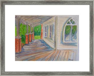 Vintage Porch With Gothic Window Framed Print