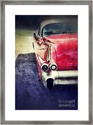 Vintage Red Car Framed Print by Jill Battaglia