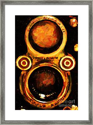 Vintage Rolleiflex Camera . 7d13357. Framed Print by Wingsdomain Art and Photography