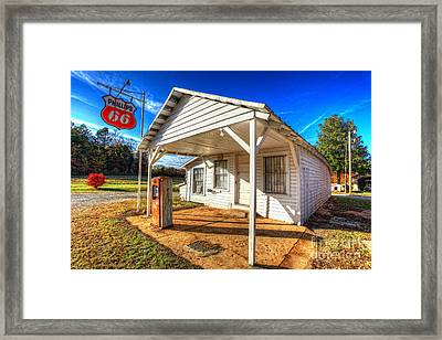 Vintage Rural One Pump Gas Station Framed Print by Dan Carmichael