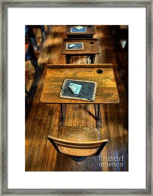 Vintage School Desks Framed Print by Jill Battaglia
