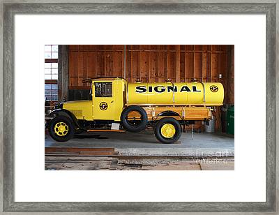 Vintage Signal Gasoline Truck . 7d12935 Framed Print by Wingsdomain Art and Photography