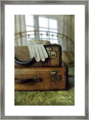 Vintage Suitcases On Brass Bed Framed Print