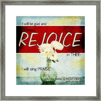 Framed Print featuring the photograph Vintage Tin - Rejoice by Mary Hershberger