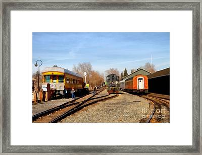 Vintage Trains At The Old Sacramento Train Depot . 7d11513 Framed Print by Wingsdomain Art and Photography
