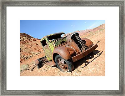Vintage Truck At Lonely Dell Ranch Framed Print by Gary Whitton