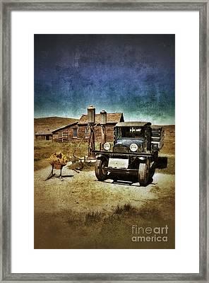Vintage Vehicle At Vintage Gas Pumps Framed Print by Jill Battaglia