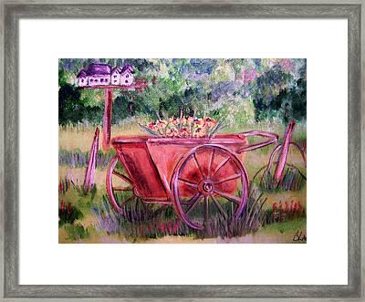 Vintage Wheel Barrow Framed Print by Belinda Lawson