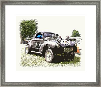 Vintage Willys Gasser Framed Print by Steve McKinzie