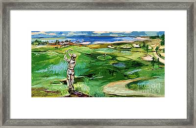 Vintge Golfer By The Sea Framed Print by Ginette Callaway
