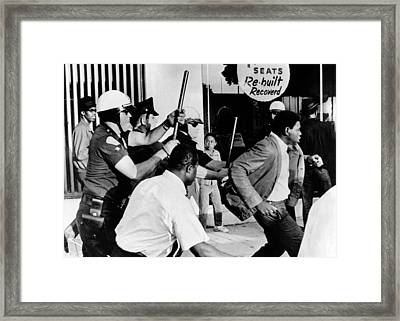 Violence On South Los Angeles Street Framed Print by Everett