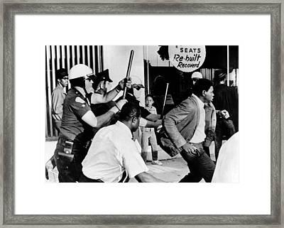 Violence On South Los Angeles Street Framed Print by Everett